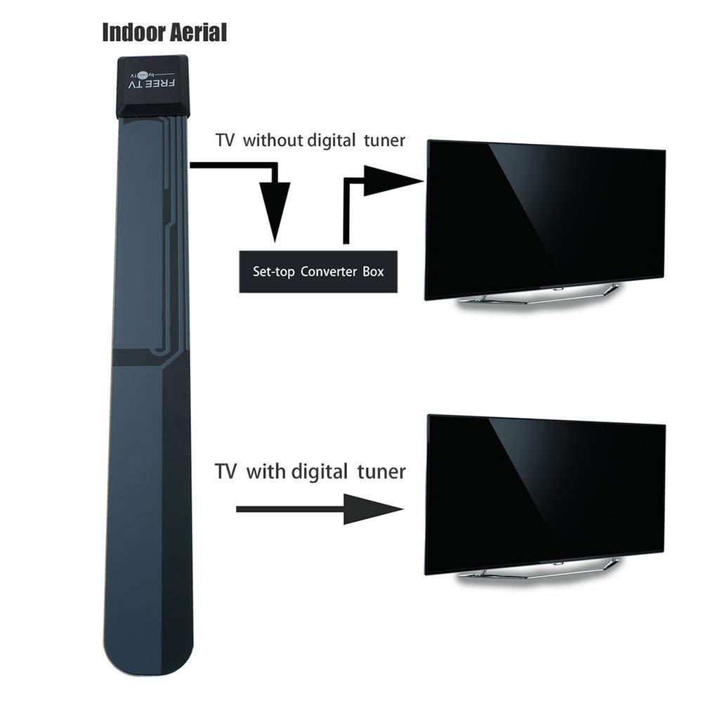 daffodilblob Clear Digital Indoor Aerial Home Antenna Ditch Cable TV Key Signal Enhancement VHF 87.5-230MHz UHF 470-860MHz for HDTV DVB-T ISDB-T DMB-T/H ATSC DAB/FM radios