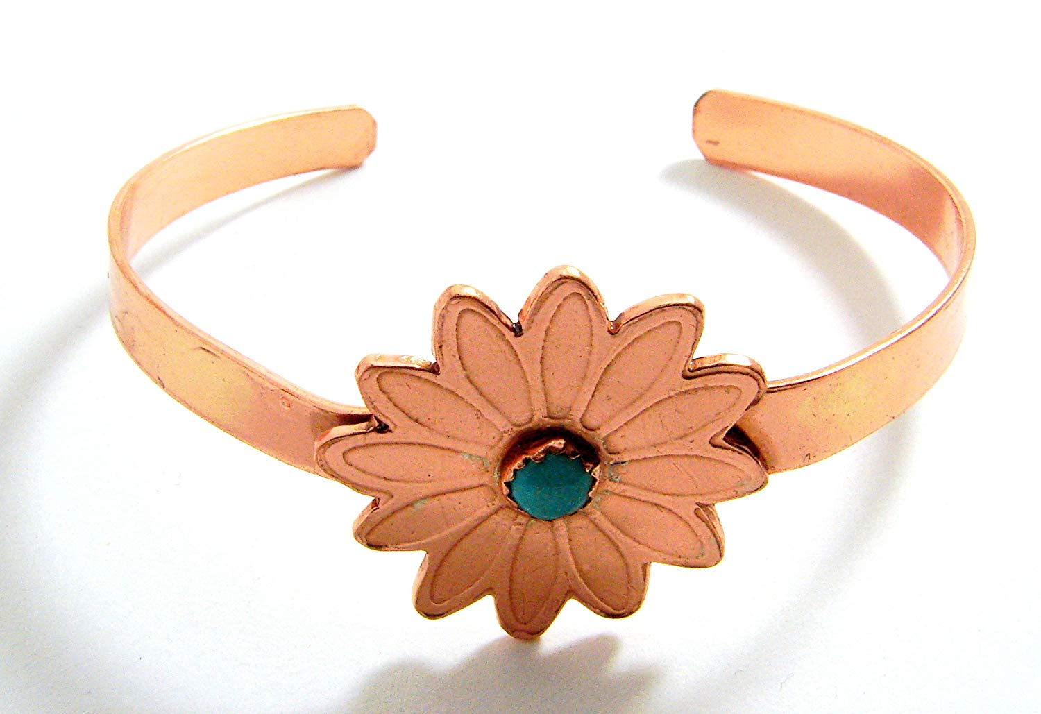 Turquoise and Copper Flower Cuff