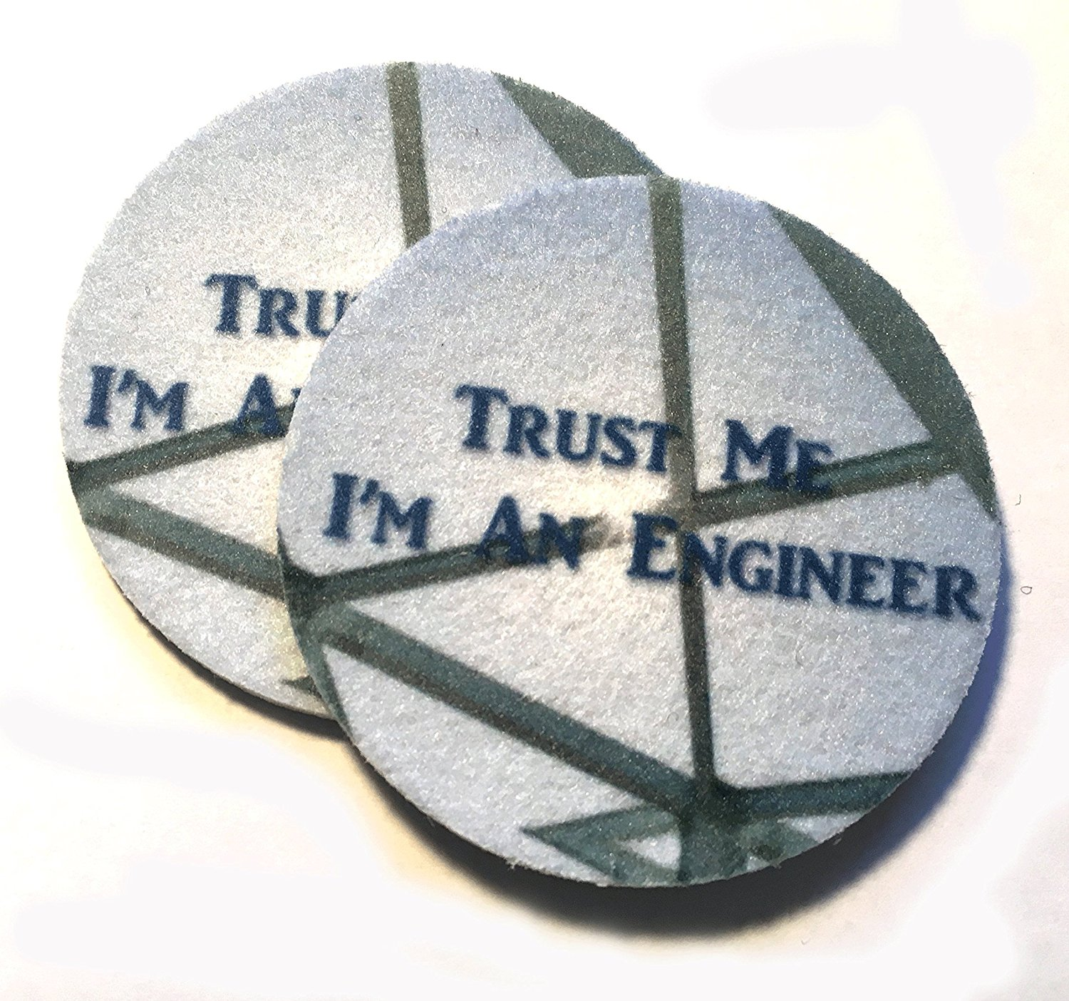 Car coasters for your car's cup holder - Trust Me I'm An Engineer - Set of two super absorbent car coaster