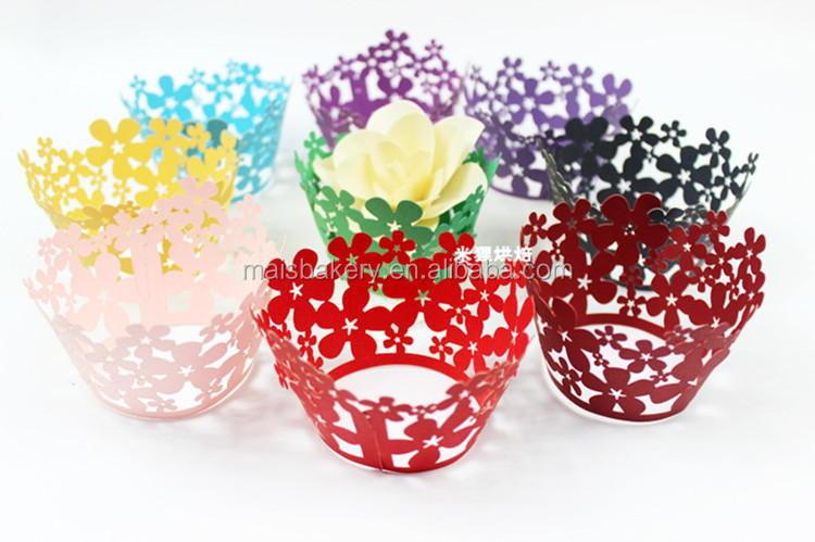 Colorful Birthday Decoration Laser Cut Cupcake Wrappers
