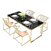 Simple modern household dining room restaurant wedding rectangular marble table with gold metal legs and velvet chair