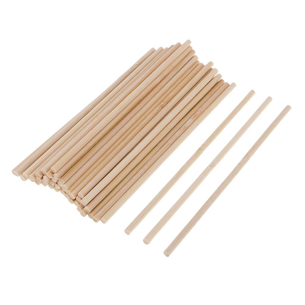 Baosity 50 Pieces Natural Blank Round Unfinished Bamboo Wood Wooden Sticks Dowel Rods for DIY Crafts Model Making Building Children Educational Toys 150mm
