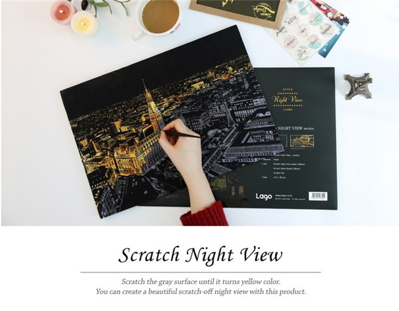 Scratch Night View Fashion High Light Scratch Art 8 Versions Paper, Night View Painting For Children's Christmas Gifts
