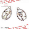 Cat Charms, Antique Tibetan Silver Tone mini cat charm pendant, Animals charm Metal Caps For Tassel ZX-A25307
