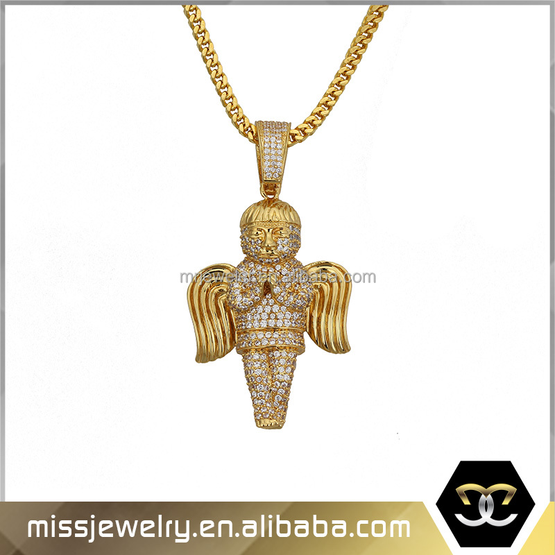 Iced Out Gold Filled Angel Wing Chain and Pendant Designs MJHP010