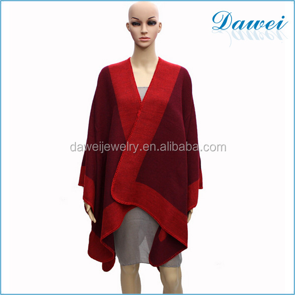 hot selling many colors provided red color women cashmere ponchos produced in china