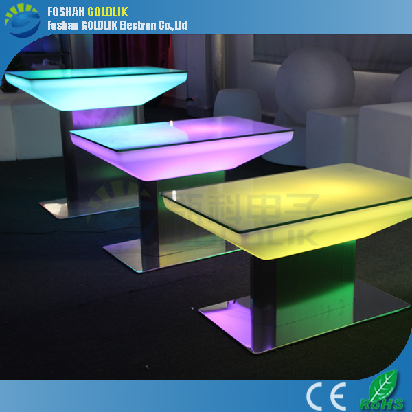 Commercial Lounge Furniture Color Changing LED Light Up Table