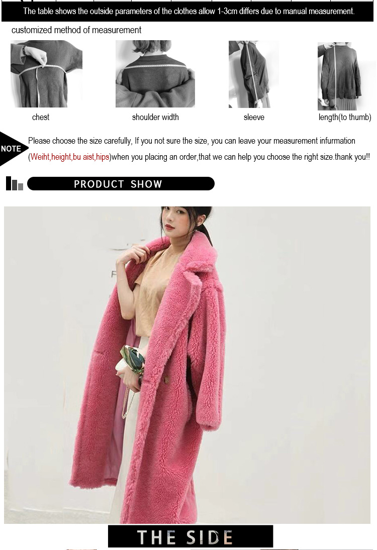 Factory Customized Oversized Shearling Coat Ladies Long Style Fur Garment Teddy Jacket