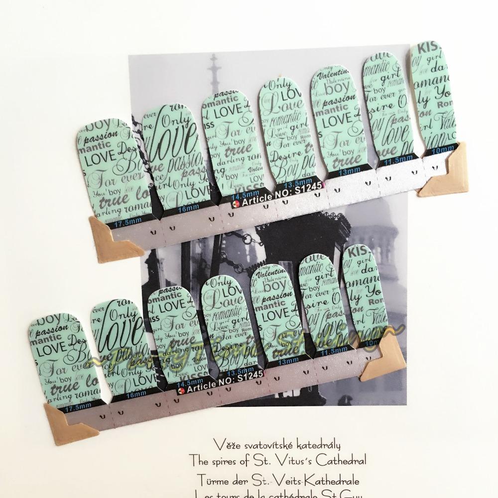 Azure True Love Words Nail Art Sticker Patch 14 pcs set Waterproof Decals Foils Gel Polish