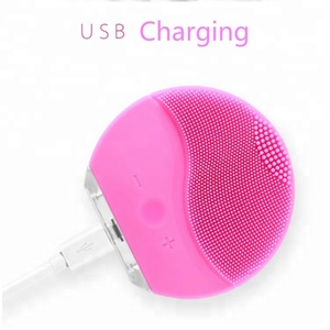 Amazon hot sold waterproof ultrasonic silicone brush portable face massager electric cleaner