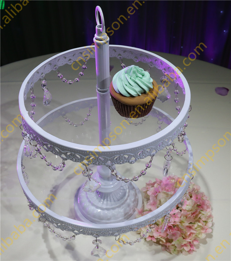 hanging decorative crystal wedding cake stand, 2 tiers white glass ...