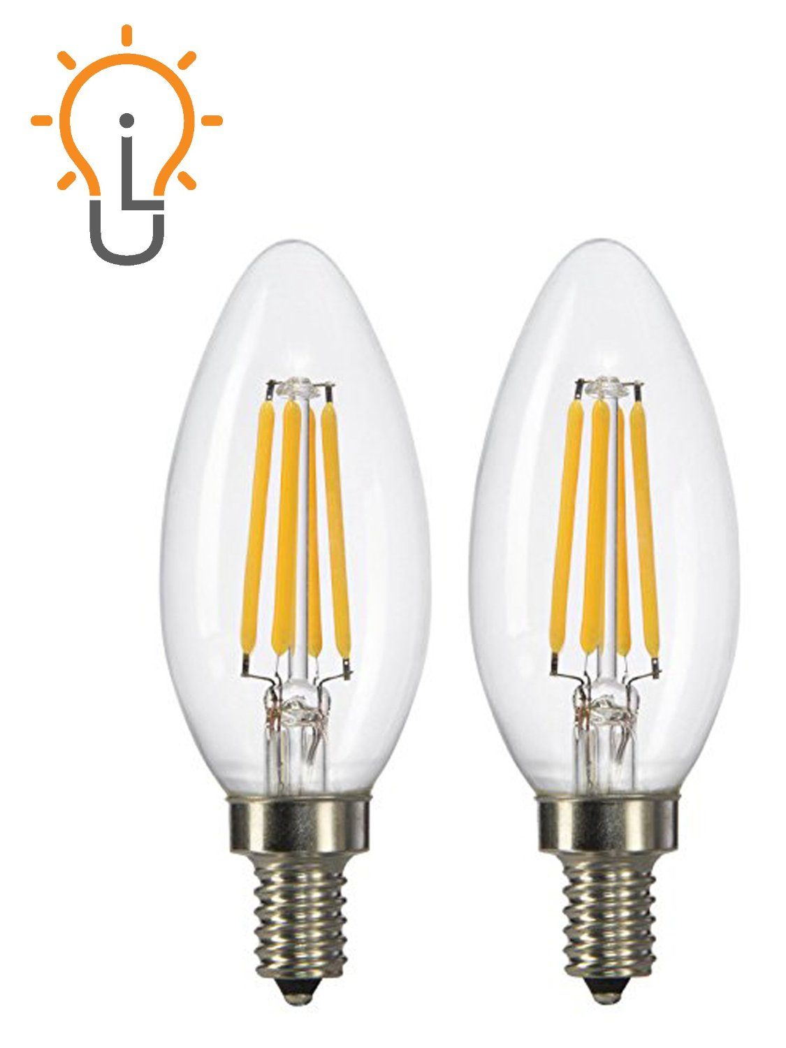 (2-Pack) Light Itup CTC LED, 45-Watt Replacement, Antique Style Filament, Candelabra E12 Base, Warm White 2700K, Dimmable, Light Bulb