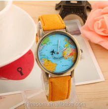 New High Quality Airplane Travel Quartz lady Watches Vintage Leather Strap Watch World Map Wristwatch Unisex