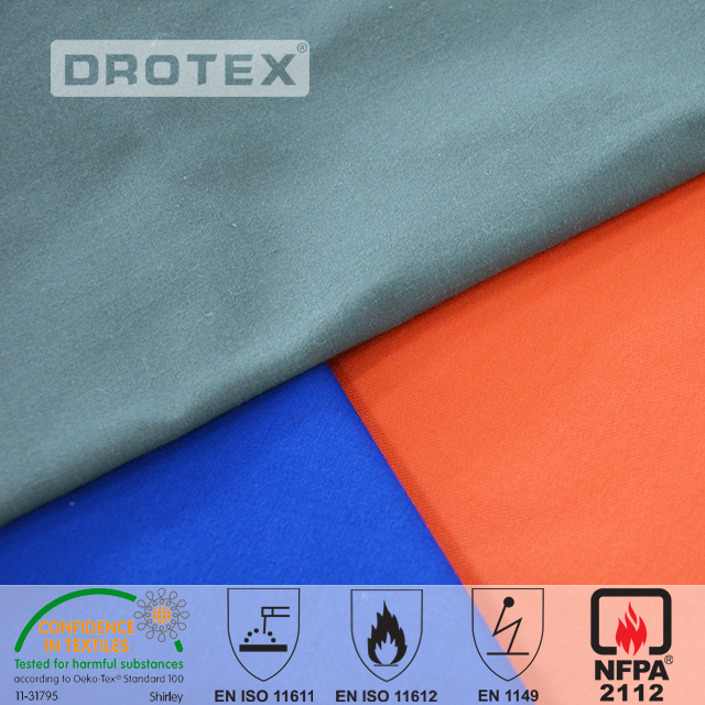 93%aramid 5%kevlar 2%antistatic 150gsm 180gsm 200gsm  Inherently  flame retardant antistatic workwear fabric