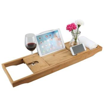 Luxury Expandable Bamboo Bathtub Caddy Bathtub Caddy Bath Tub Tray ...