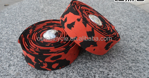 colorful Bicycle Handlebar tape with two plugs