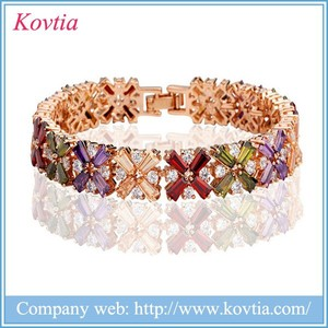 Fashion Colorful Crystal Zircon Bracelet Exquisite Flower Bangles Gold South Africa Bracelet