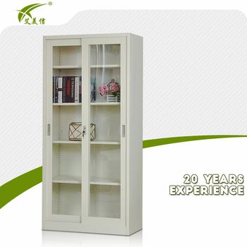 Heavy Duty Bookshelf Style Metal Frame Glass Door Display Cabinet