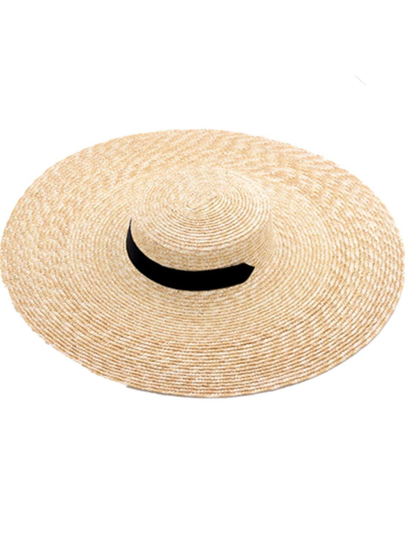 149cf6580ec6a Get Quotations · Sllxgli New large straw windproof rope flat straw hat  beach sun flat straw hat