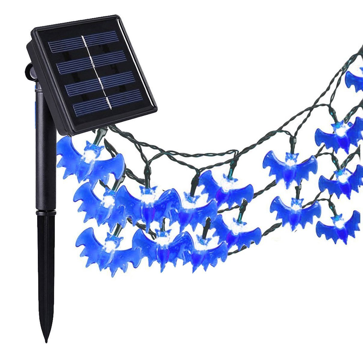 get quotations halloween string lights 20ft 30led solar powered bat string lights for halloween christmas party garden