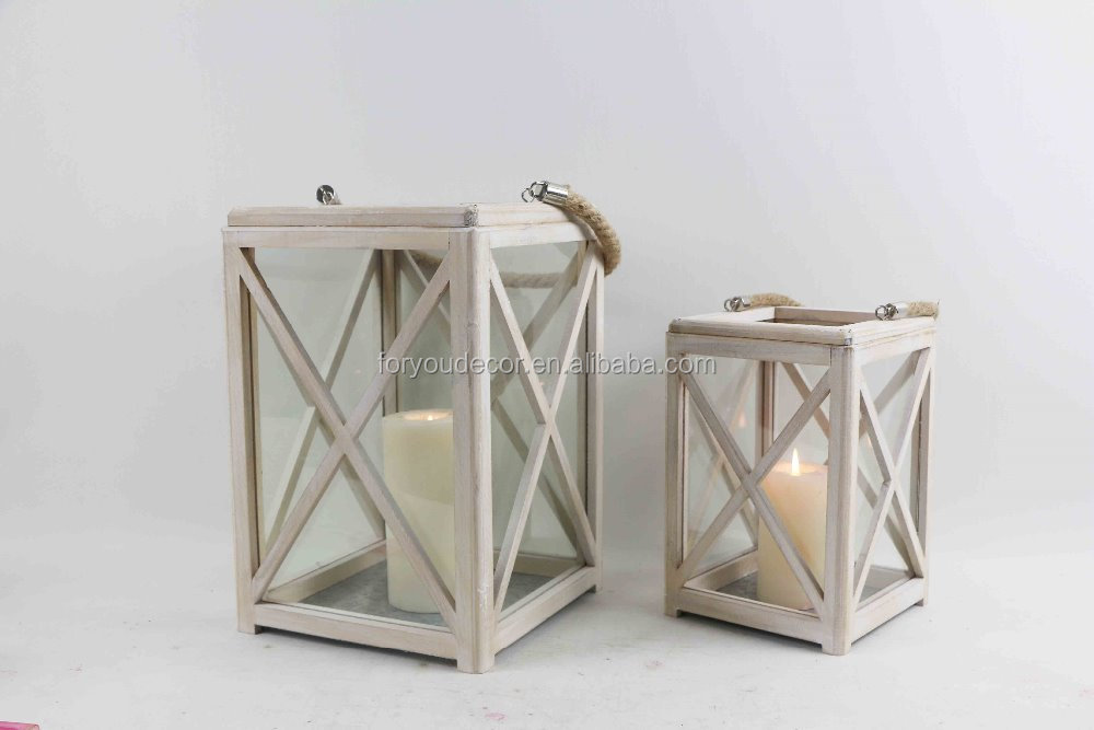 Handmade Square Home Decorative Wood Candle Lantern With Rope Handle,Lantern for Garden Decoration