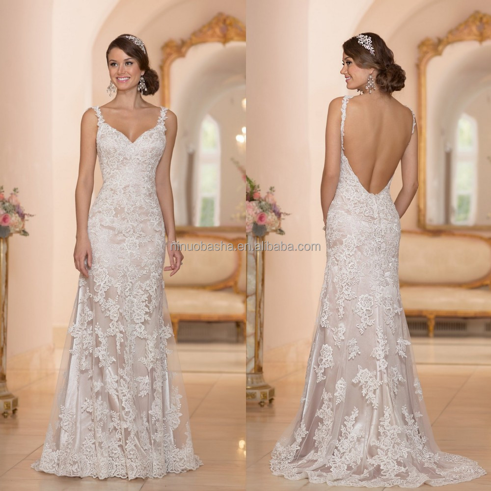 2015 Sexy Sheath Wedding Dress Spaghetti Straps V Neckline Backless Lace Bridal Gown Wholesale Suzhou