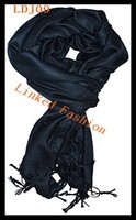 Women Girl winter Pashmina soft Silk Solid Black Shawl Wrap Long Range Scarf
