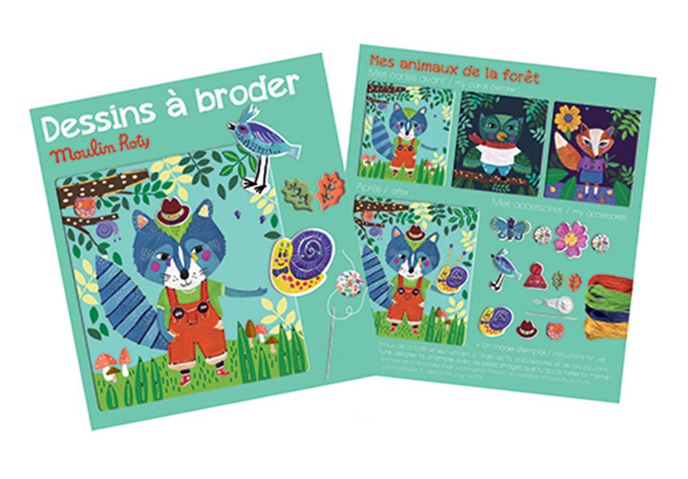 Forest animals sewing cards