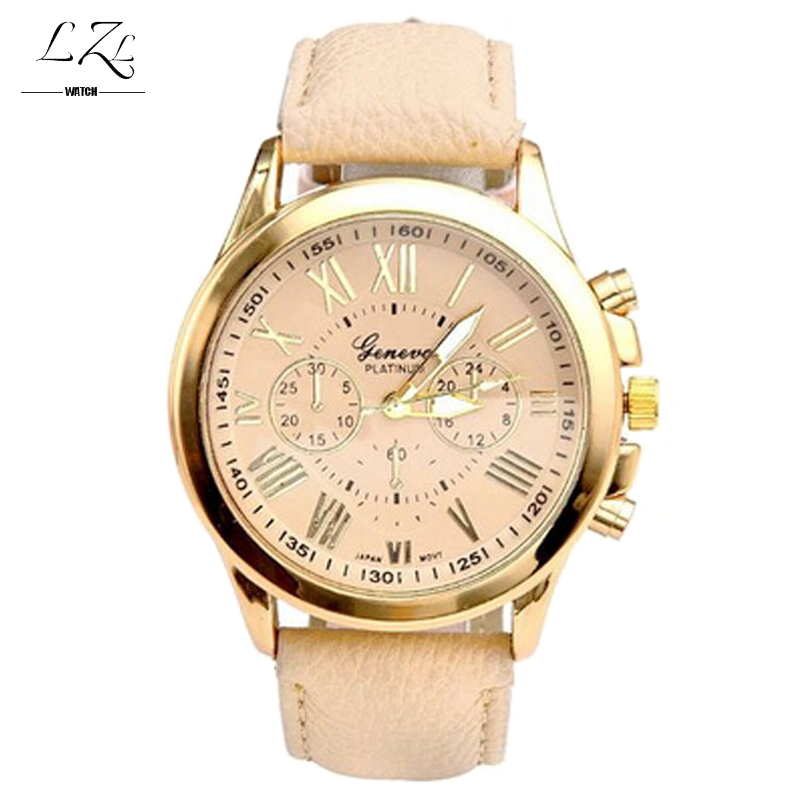 Fashion Roman Geneva Gold Platinum Quartz Watch Women PU Leather Wristwatch Casual Watches Reloj Ladies Analog Relogios Feminino