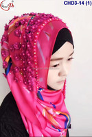 CHD3-14 Handmade embroidery flower pattern ladies scarf with best quality lowest price and 3D active flower