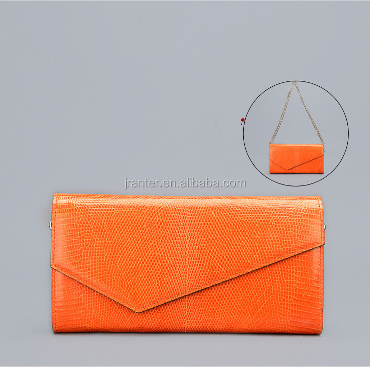 Hot wholesale women wallets genuine lizard leather women envelope clutch bag