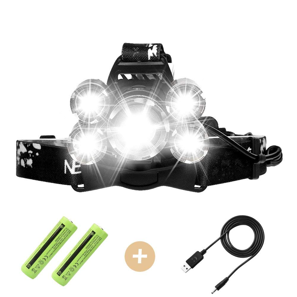 Rechargeable LED headlamp, Super Bright Led Headlamp, 5 LED High Lumen Zoomable Waterproof Head torch Headlight for Outdoor Hiking Camping Hunting Fishing Cycling Running Walking
