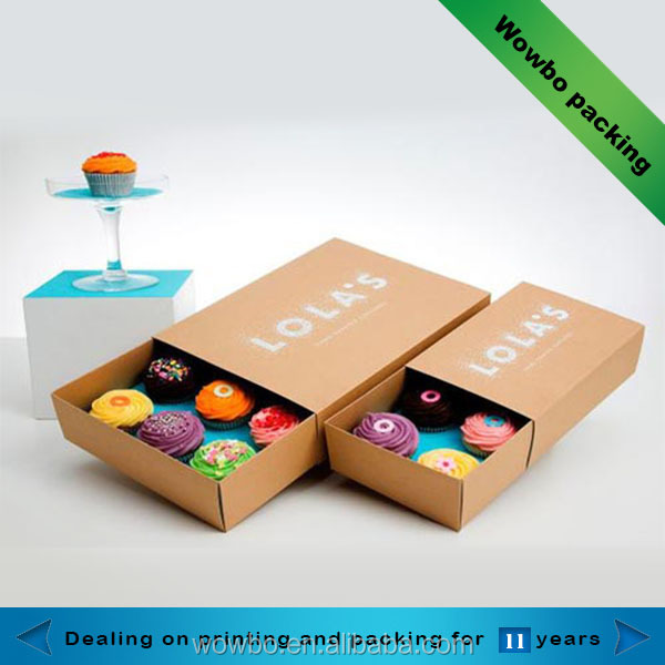 Contenitori per alimenti mini cupcake scatole kraft paper packaging box con cassetto