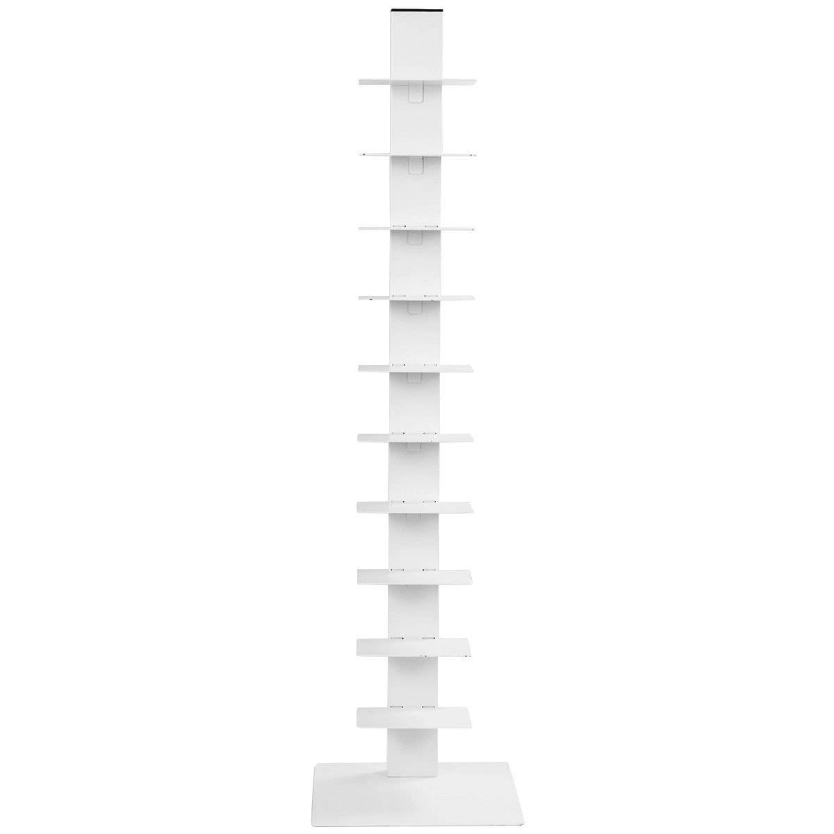Get Quotations Tangkula Spine Book Tower Shelf Bookcase Wall Unit Large Storage Floating Open Media White