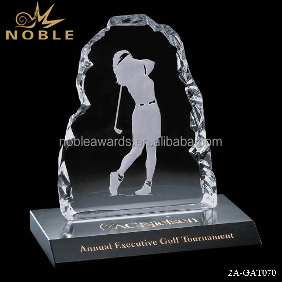 Noble Cheap Custom Crystal Glass Golf Iceberg on Marble Iceberg Trophy