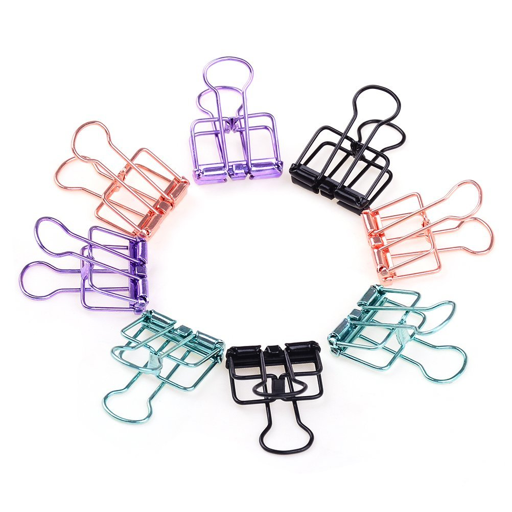 8pcs Wire Binder Clips Metal Paper Clips Multifunctional Small Foldback Clips, 4 Colors