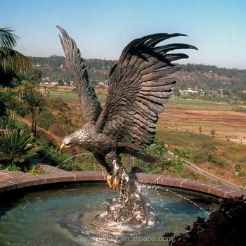 Metal Garden Ornament Sculpture Life Size Bronze Eagle Statue