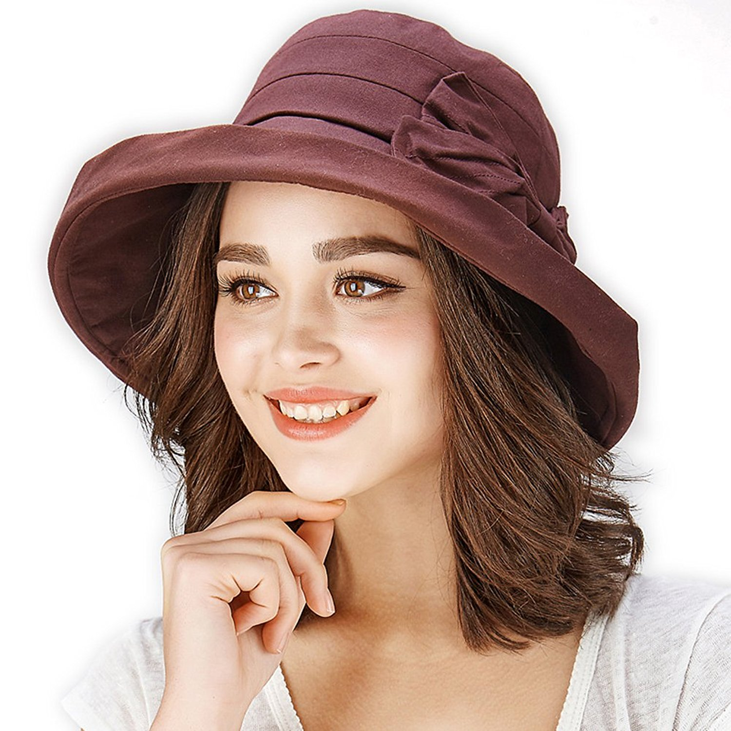 9a523f1c Get Quotations · ANMIDE Women Fashion Summer Sun Hat Fold Up Wide Brim  Cotton Hat Bucket Bowknot Hat Beach