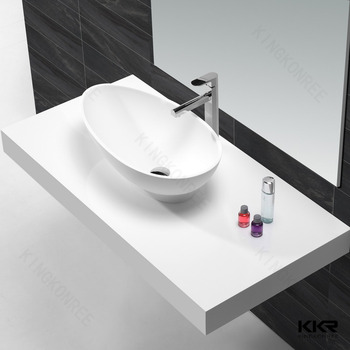 Delightful Solid Surface Washing Hand Sink , Small Oval Shape Countertop Basin , Resin  Stone Art Baisn