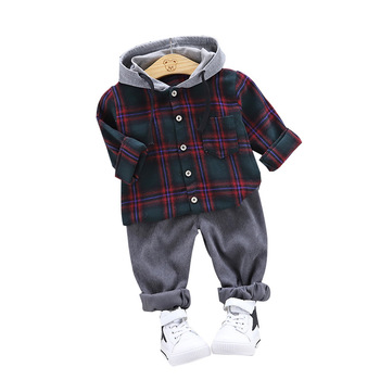 Top Lader 2019 Spring New Boys Cartoon Plaid Hoodies Two-piece Suits Children Suits Children Clothing 2pcs