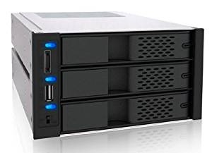 ICY DOCK FlexCage MB973SP-B Tray-less 3x 3.5 Inch HDD in 2x 5.25 Inch Bay SATA Cage - Front USB plus eSATA Port