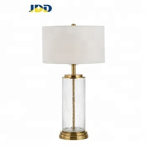 E27 Wholesale Pattern Glass Table lamp Modern Decorative Hotel Desk lamp White cloth cover / Metal Base