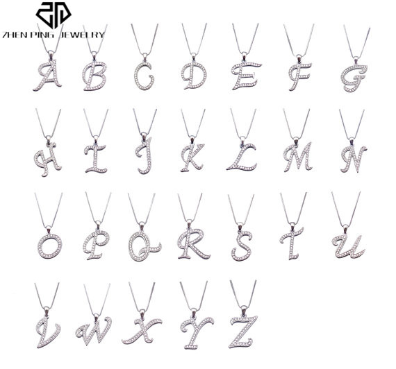 Stainless Steel Initial Charms Fit Plain Leather Bracelet Pendant 26 Zircon Initial Letter Charms Pendant Making Women Gifts