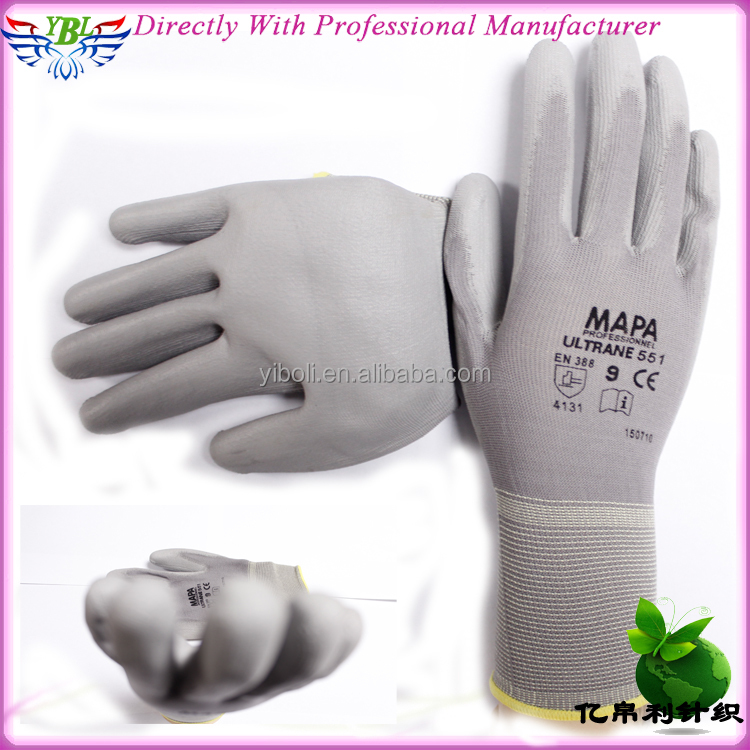 YBL 13G Nylon pu coated cut resistant working safety glove,high quality palm pu cut resistant glove,cut resistant level3 glove