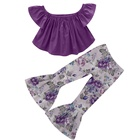 2019 new fashion girls 2 pcs outfits off shoulder top+big ruffle pant toddler girl clothing set