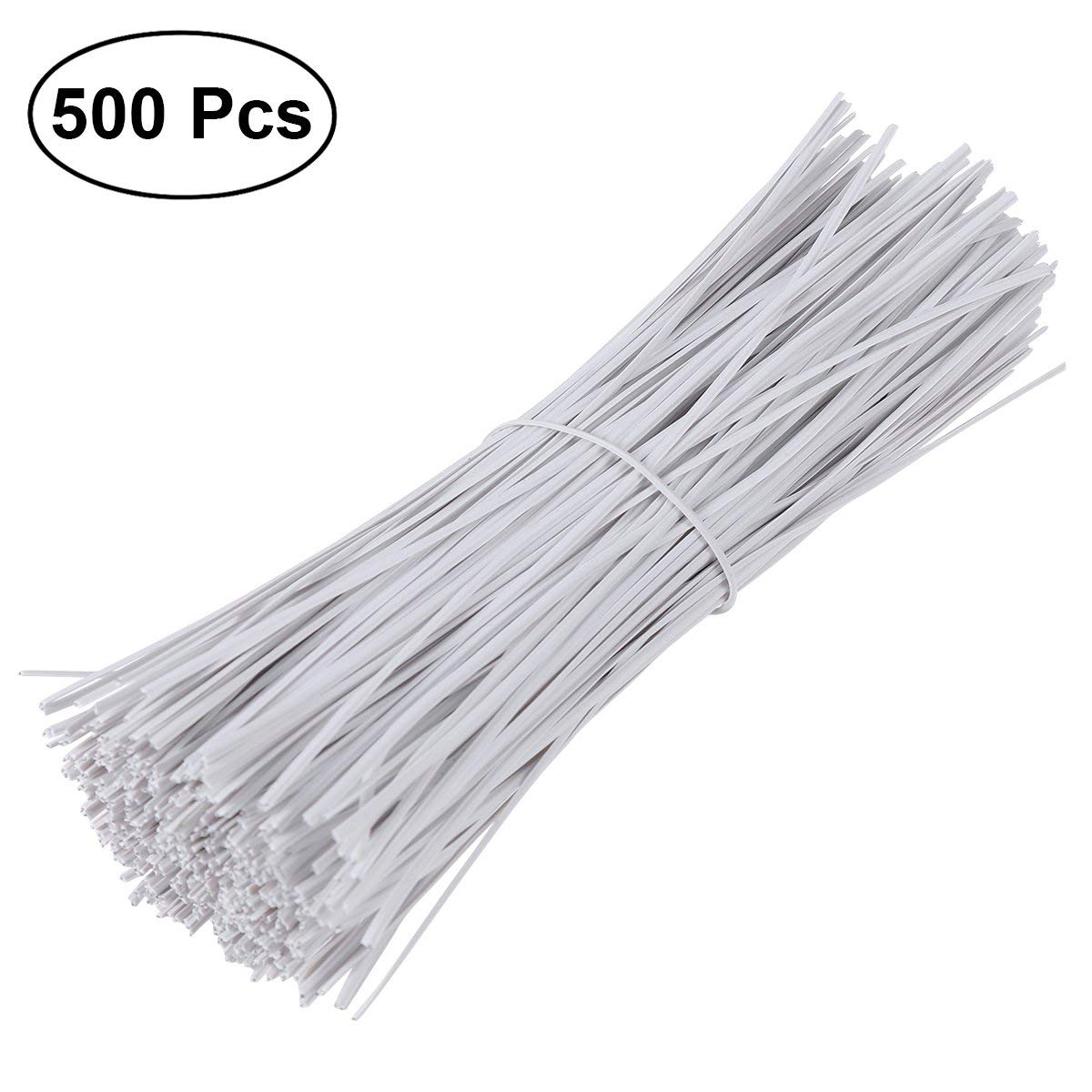 a69c97ea6a03 Get Quotations · OUNONA 500pcs Cable Wrap Ties Plastic Coated Iron Wire  Twist Ties,15cm (White)