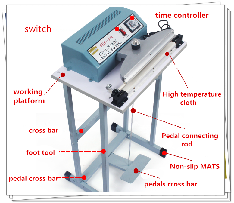 Aluminum Body Foot Pedal Plastic Bag Sealing Machine For