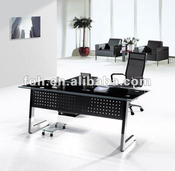 Tempered Glass Office Table Executive Desk   L Shaped Glass Executive  Table(FOHYTJ