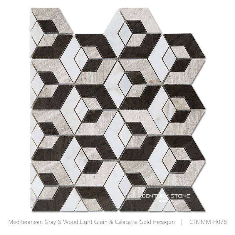Black And White Hexagon Shape Marble Mosaic Natural Stone