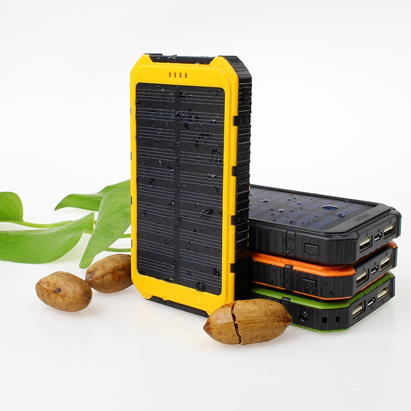 Hot sale 6000mah Portable Waterproof solar power bank Dual-USB Solar Battery Charger for all Phone
